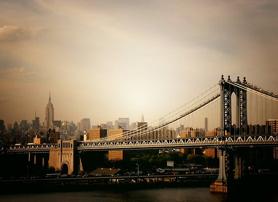 The Manhattan Bridge and the New York City Skyline at Sunset by Vivienne Gucwa
