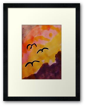 Birds coming in for a landing at sunset, watercolor by Anna  Lewis