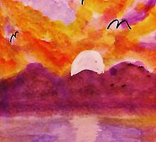 Sunset over west Coast, watercolor by Anna  Lewis