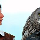 Falconer and Great Grey Owl by neil harrison