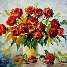 Red On White - original oil painting on canvas by Leonid Afremov by Leonid  Afremov