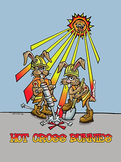Hot cross bunnies. by NHR CARTOONS .