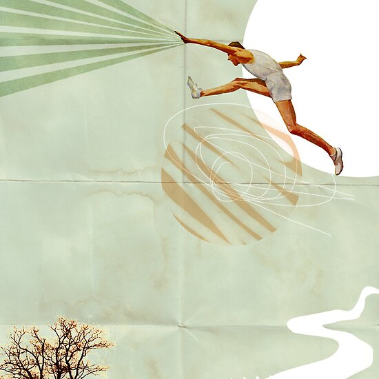 You can do it, Fine Art Collage Illustration, Athlete jumping