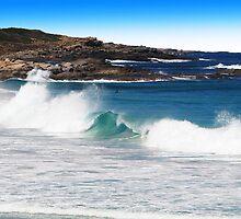 Ocean wave and background rocks by georgieboy98