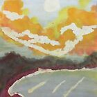 The Cove #2 at sunset, watercolor by Anna  Lewis