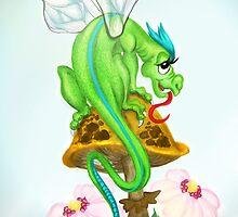 Fairy Dragon Sitting on Toadstool by ellearden
