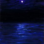 Moonlit water, mini oil painting on masonite by Regina Valluzzi