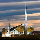 Boise Temple Cloudy Sunset 20x24 by Ken Fortie
