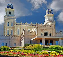 Manti Temple Flower Garden 20x30 by Ken Fortie