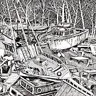 Boat Graveyard at the Noyo River by Sally Sargent