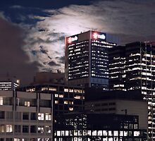 Melbourne Skyline Full Moon by kris gerhard