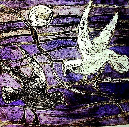 """Seagulls 2  by Belinda """"BillyLee"""" NYE (Printmaker)"""