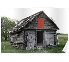 Old Log Cabin on the Prairies Poster