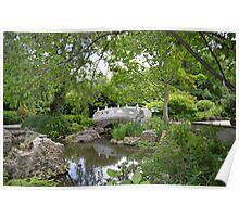 Chinese Garden and Bridge Poster