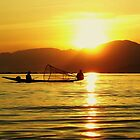 Fishing At Sunset On Inle Lake, Myanmar. by Liza Barlow