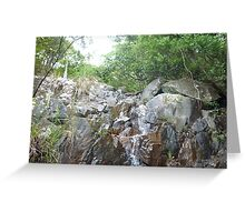idyllic,stream,blasting,down,rock,cliff,surrounded,by,radiant trees Greeting Card