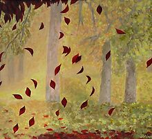 Falling autumn leaves by olivia-art