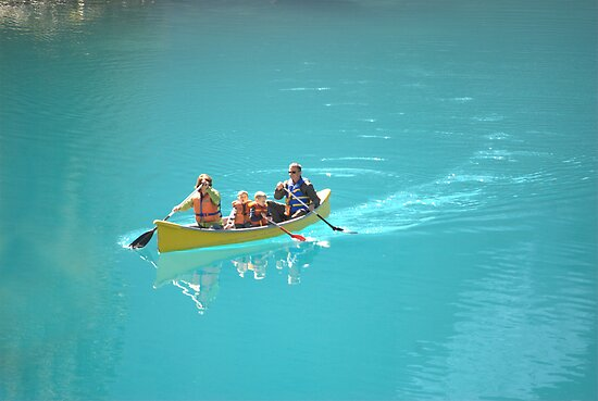 Canoeing on Moraine Lake, Alberta, Canada by Laurast