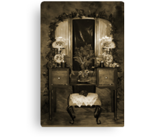 Antique Dressing Room Table - Sepia Canvas Print