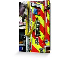 Fire Hose on Striped Fire Engine Greeting Card