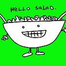 Hello Salad (greeny print) by Ollie Brock