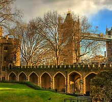 London Tower and Tower Bridge, England by Clint Burkinshaw
