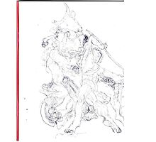Drawing: Tate Gallery Sculpture -(270511)- Black Biro Pen Photographic Print