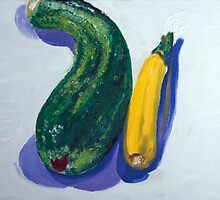 Two zucchini - comment on relationship by Helen Imogen Field