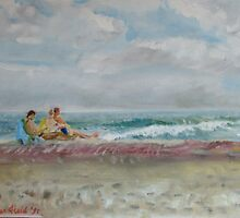 Fire Island - the sea with sunbathers by Helen Imogen Field