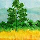 Big Pine alone in field, watercolor by Anna  Lewis