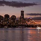 Golden Sunset - Story Bridge, Brisbane by Jennifer Rose Clement