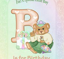 Birthday Bear and Letter B - for Boy by SpiceTree