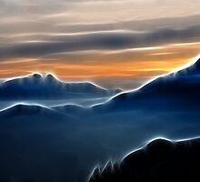 Brilliant mountain sunset in blue by Francesco Malpensi