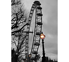 London Eye and street lamps Photographic Print