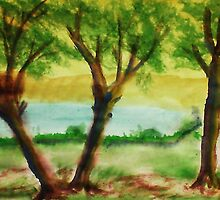 Lets Picnic under these trees by the lake, watercolor by Anna  Lewis