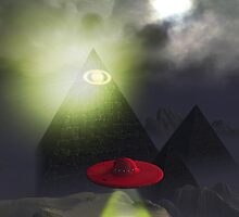 Illuminati Pyramid and UFO by mdkgraphics