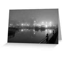 Misty Moored Houseboats Greeting Card