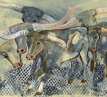 Texas Longhorn Cattle Drive by Dana Parish