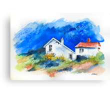 TWO WHITE HOUSES BY THE SEA Canvas Print