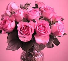 Bouquet of Pink Roses by hummingbirds