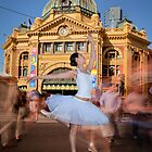 Melbourne Ballet Co Ballerina at Flinders St Station by Chris Dowd