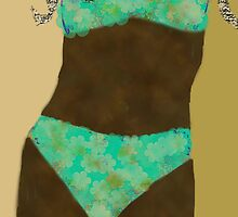 Aqua Bikini abstract woman  by kreativekate