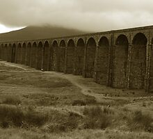 Ribblehead viaduct on a beautiful grey day by Mary Thompson