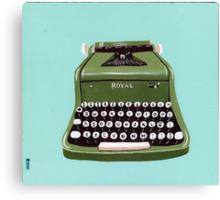 Green Royal Typewriter Canvas Print