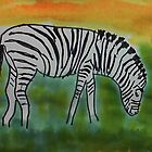 The Zebra, for the Africa Series  ( revised version), watercolor by Anna  Lewis