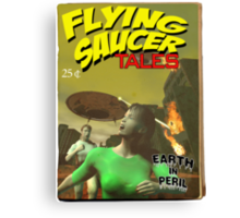 Flying Saucer Tales Fake Pulp Cover Canvas Print