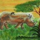 Rhino grazing for  Africa series, watercolor by Anna  Lewis