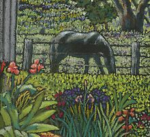 Pams path to the stable-miniature pastel painting by maria paterson
