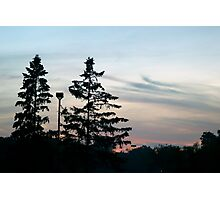 Twin Sunset Silhouettes  Photographic Print