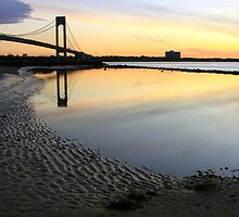 Sunrise by the Verrazzano Narrows Bridge. by Edward Mahala